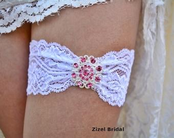 Pink Garter, Wedding Garter, White Garter Set, White Lace Garter, Bridal Garter, Pink Garter Set, Rhinestone Garter, Handmade Garter, Bridal