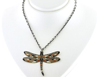 Dragonfly necklace with chain - handmade jewellery