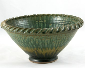 Rope Edge Bowl, Wheel Thrown Serving Bowl, Green, Gold, and Black