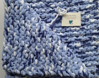 Knit Baby Blanket, Crib Afghan, Baby Shower Gift, Ready to Ship