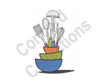 Kitchen Utensils Machine Embroidery Design