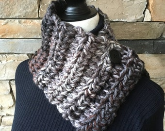 Buttoned Neck Warmer, Black Neck Warmer,Gray Scarf, Cowl with a Button, Mens Scarf, Chunky Scarf