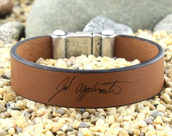 Engraved Handwriting Bracelet, Personalized Leather Bracelet, Actual Handwriting, Signature Bracelet, Custom Handwriting, Signature Jewelry