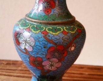 Brass metal cloisonne vase