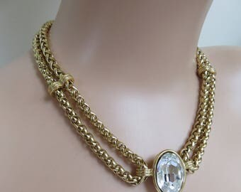 Vintage Stunning 80's YSL Yves Saint Laurent Signed Gold Plated Sparkly Statement Necklace