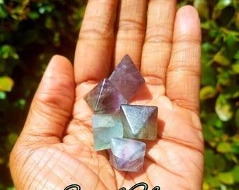 Rainbow Purple Fluorite Octahedron Crystals minerals wirewrap stones Quartz