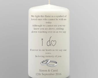 Small Personalised In Loving Memory Remembrance Candle Wedding Day Gift Keepsake Centrepiece Favour
