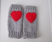 Leg warmers knitted,ankle warmers, leggings gray, red heart, knitting ankle warmers, Gift, knitted clothes, Socks,   ready for shipment