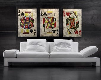 playing cards painting casino poker art 10 of hearts game room. Black Bedroom Furniture Sets. Home Design Ideas