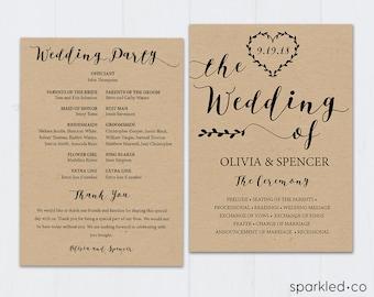 Rustic Wedding Program Template, Rustic Wedding,Program, Program Template, Wedding Program, Ceremony Program, Wedding Programs