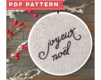 PDF Holiday Embroidery Pattern Joyeux Noel. Christmas Hoop Art. DIY Embroidery. Christmas Decor. Mantle Decorations. Christmas Crafts.
