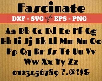 FASCINATE Monogram SVG Font, Alphabet SVG, Dxf, Eps, Png Files; 52 Letters, 10 Numbers, 6 Symbols,Silhouette Studio, Cut Files, Cricut