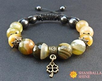 Olive gemstone jewelry Brown gemstone bracelet Green brown bracelet 4-leaf clover pendant Good luck charm bracelet Healing agate beads