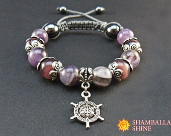 Amethyst charm bracelet Natural healing gemstone Purple grey jewelry Traveling beaded bracelet Silver helm Gift for friend Meditation stone