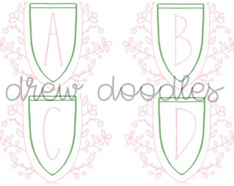 Pink and Green Alphabet Digital Clip Art Set- Instant Download