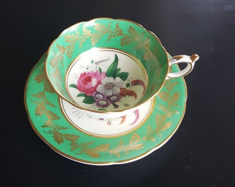 Paragon,England, Green and Gold, with Florals , Cup and Saucer,Vintage, tea cup and Sauser,
