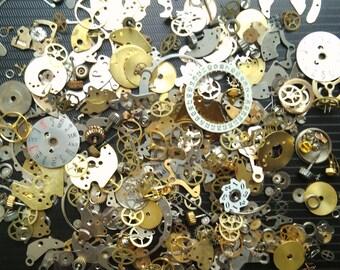 40g Steampunk Watch Movement Parts Gears Cogs Wheels Assorted Lot Industrial Art