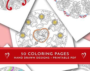 Printable coloring pages, 50 printable mandalas, Love mandalas, Hand drawn mandalas, Mandala PDF, Love coloring book