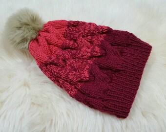 Cherry Berry Knit Beanie with Fur pompom
