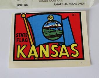 Vintage Kansas State Car Decal/Sticker