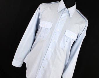 Vintage Military Shirt Creighton 16 35 Blue US Coast Guard Long Sleeve Button Down Front Pockets Mens J6