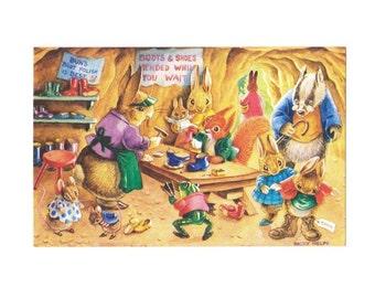 Vintage briefkaart Racey helpt bezoek aan de schoenmaker Pk 373 jaren 1970 kwekerij afdrukken Art Retro wenskaart schoenmaker schoen laarzen konijnen Elfen beterende hand