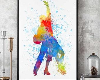 Figure Skating Print, Figure Skating Gift, Ice Skating Painting, Figure Skating Wall Art,   Watercolour Print, Sports Decor  (N016)