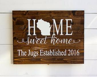 Home Sweet Home Established Sign | Entryway Sign | Last Name Sign | Established Sign | Rustic Decor | Wedding | Housewarming | Gift for her