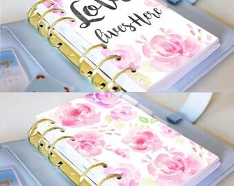 Personal Dashboard - Planner Printable Inserts - Watercolour Flower Planner Dashboard - Filofax Personal or Kikki K Medium