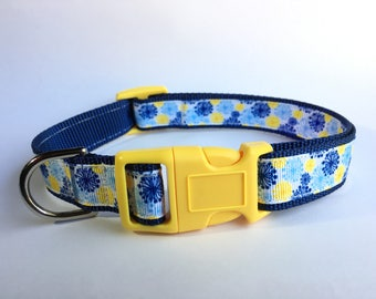 Blue and Yellow Floral Dog Collar - Medium