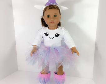 18 inch Doll clothes -  Unicorn Outfit fits doll like American Girl, One Generation, and My Life