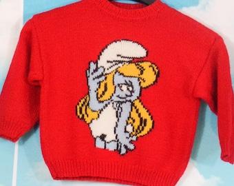 Pull kid rouge tricoté main Motif Schtroumpfette  3 ans