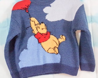 Pull kid bleu tricoté main Motif Tigrou 6/8 ans