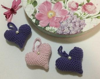 Crochet Hearts, Valentines gift, stocking stuffers , Birthday gift,nursery decor,handmad ornaments, hanging decor, Xmas gift, set of three