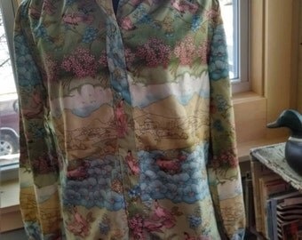 Vintage Sunny South Fashions Dallas Women's Bird Blouse!