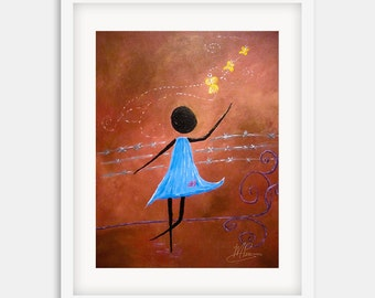 Freedom {Vertical Print}: Limited Edition Fine Art Giclée, Africa, Whimsical, Abstract, Girl, Butterflies
