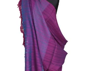 Purple and blue  merino wool large shawl