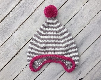 Earflap Girl Hat, Baby Girl Knit Hat, Striped Infant Hat, Fall Knitted Hat Girl, Girl Baby Shower Gift, Girl Winter Hat, Coming Home Outfit