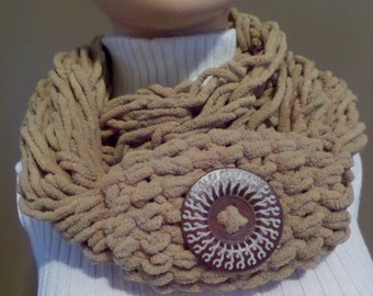 Camel One-of-a-Kind Hand-Knit Infinity Scarf with Button - M