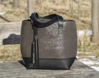 Gray patent leather bag-Patent leather handbag, Handbag with tassel,Gray handbag,Gray bag with black bottom,Leather Shoulder bag,Gift ideas