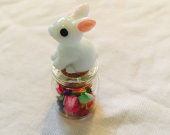 Gorgeous tiny bunny rabbit sitying on top of cork of glass bottle