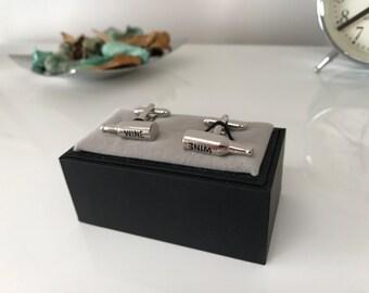 Wine Bottle Cufflinks - Mens wedding cufflinks - Ideal best man gift
