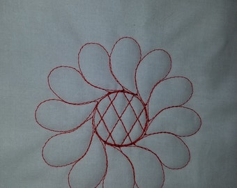 Flower diamond motif quilting block with embroidery machine.  Sizes 4x4, 5x5, 6x6, 7x7, 8x8, and 9.5x9.5
