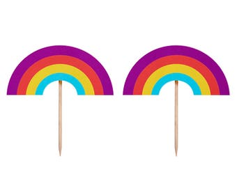 Rainbow Toppers, Rainbow Cupcake Topper