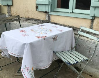 Vintage French Cotton Embroidered Tablecloth