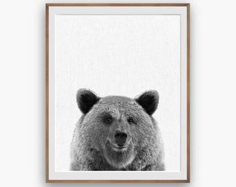 Bear Print, Black White Bear Nursery Art Decor, kids Wall Decor, peekaboo print, Digital Download, Large Printable Poster, Forest Animals