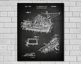 Combine Print - Farm Equipment Decor - Farm Art - Vintage Farm Decor - Combine Blueprint - Combine Diagram - Farm Art Poster - CA284