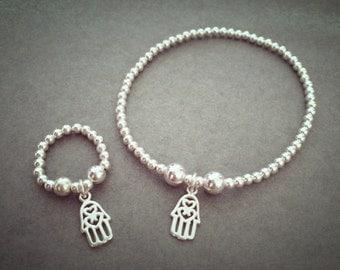 Sterling Silver Mini Hamsa Charm Bracelet & Ring Set