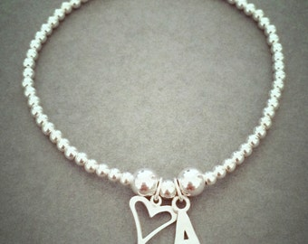 Sterling Silver Initial and Heart Charm Bracelet