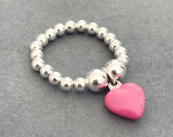 Sterling Silver Pink Heart Charm Ring